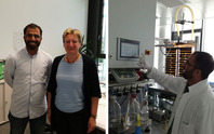 Wasif Farooq (GT 2016) together with Dr Ulrike Schmid-Staiger (Group Manager Technical Microbiology) and working at an automated microalgae cultivation system during his Research Stay at Fraunhofer IGB, Stuttgart, July 2017.