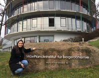 Alejandra Carmona during her research stay in front of Max Planck Institute for Biogeochemistry, Jena 2017.