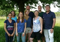 Heyker Lellani Baños Díaz with her research group and supervisor Dr Jürgen Gross from Institute for Plant Protection in Fruit Crops and Viticulture at Julius Kühn-Institut (JKI), Federal Research Centre for Cultivated Plants, Dossenheim, 2016.