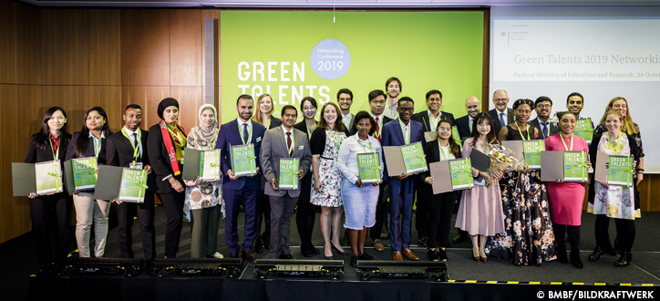 The Green Talents Awardees 2019 at this year's award ceremony with the Parliamentary State Secretary Dr Michael Meister at the BMBF in Berlin