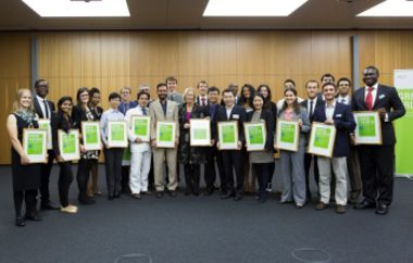 The Green Talents-Awardees with Minister Wanka during the award ceremony in Berlin