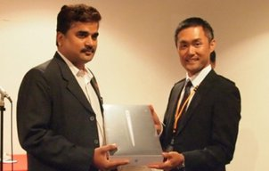 Rajeev Pratap Singh receiving his award