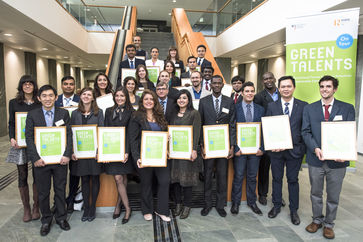 The Green Talents-Awardees with Mr Kraus during the award ceremony in Berlin
